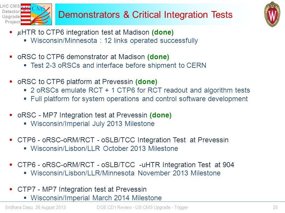 Demonstrators & Critical Integration Tests