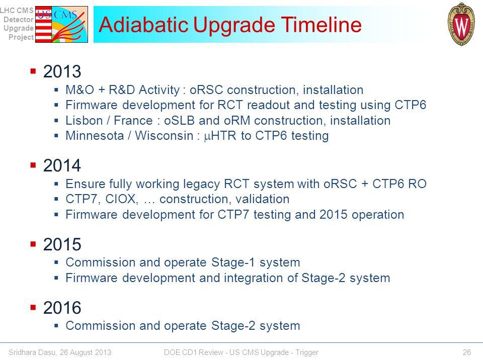 Adiabatic Upgrade Timeline