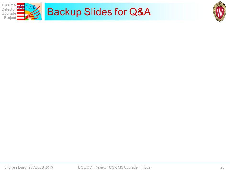 Backup Slides for Q&A Sridhara Dasu, 26 August 2013