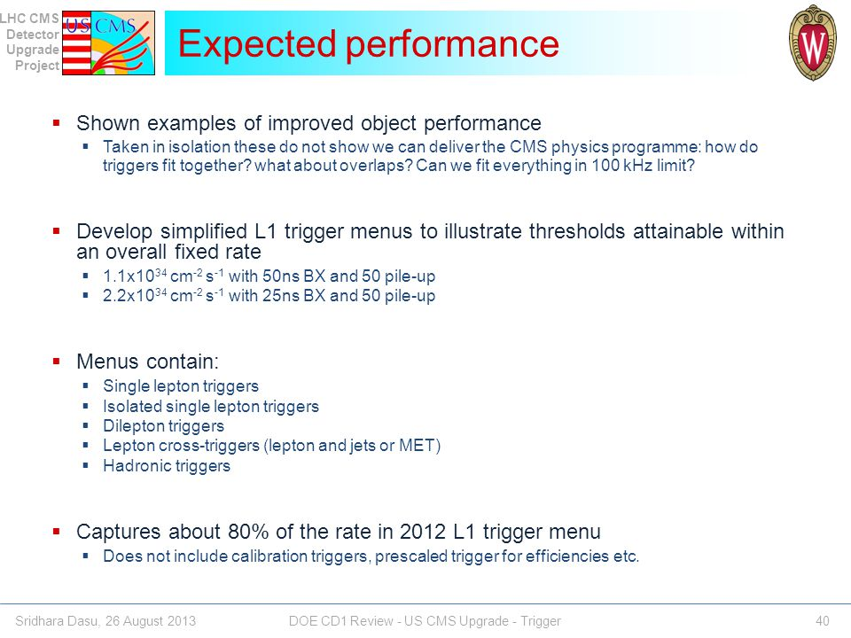 Expected performance Shown examples of improved object performance