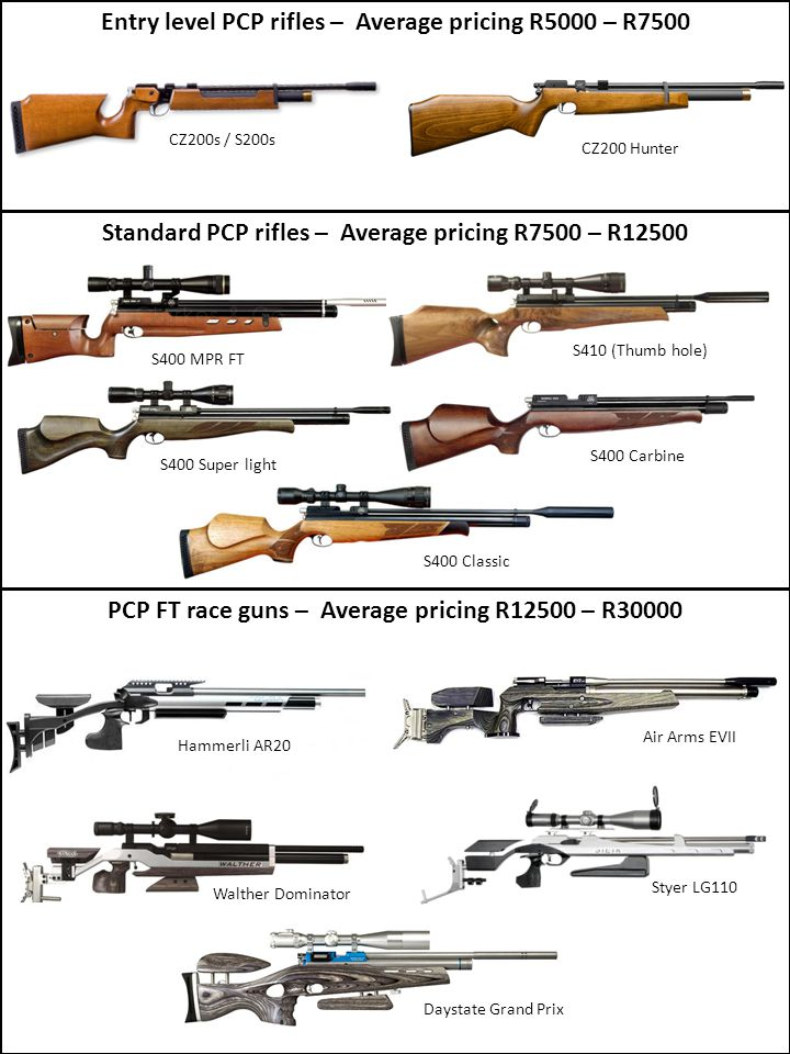 Entry level PCP rifles – Average pricing R5000 – R7500