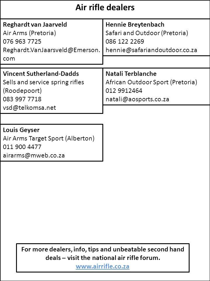 Air rifle dealers Reghardt van Jaarveld Air Arms (Pretoria)