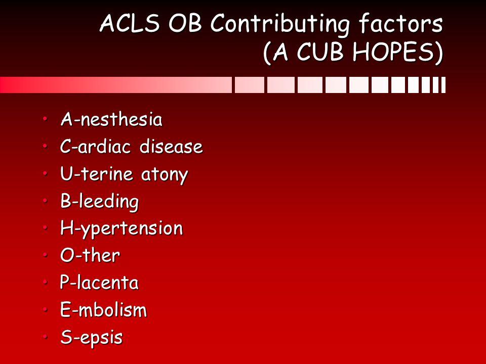 ACLS OB Contributing factors (A CUB HOPES)
