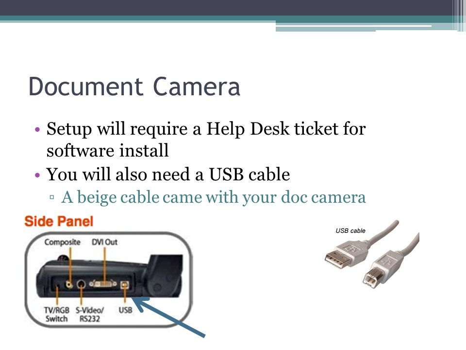 Document Camera Setup will require a Help Desk ticket for software install. You will also need a USB cable.