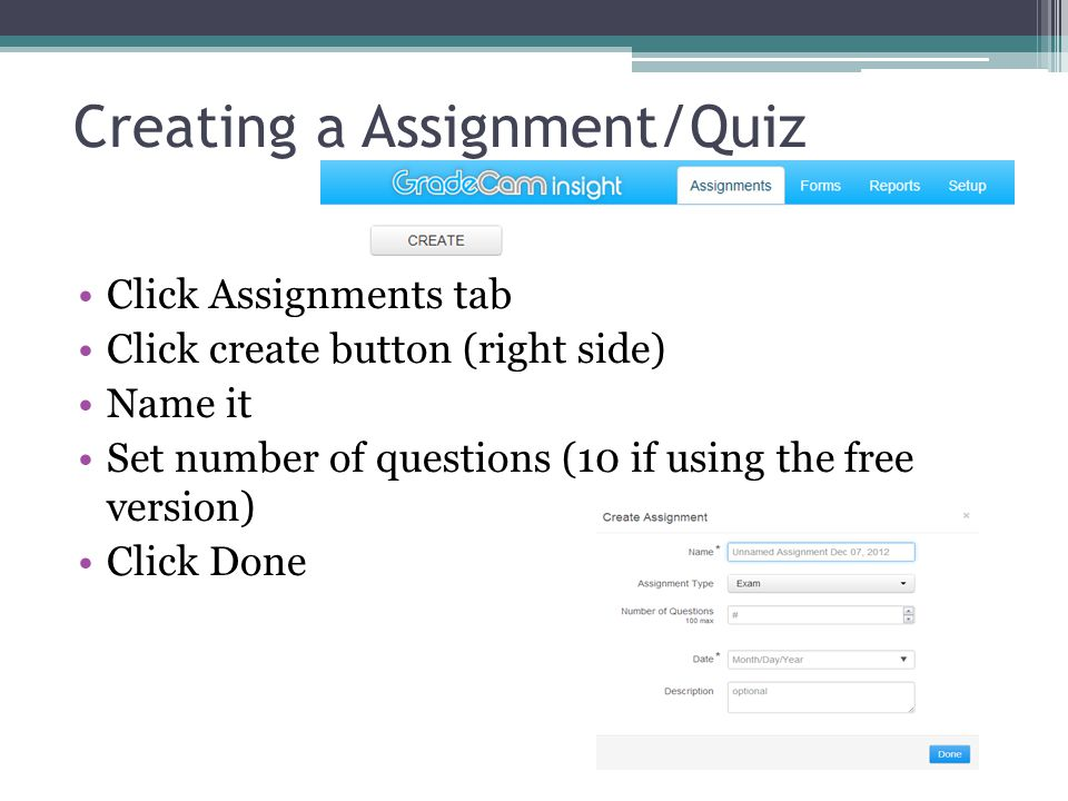 Creating a Assignment/Quiz