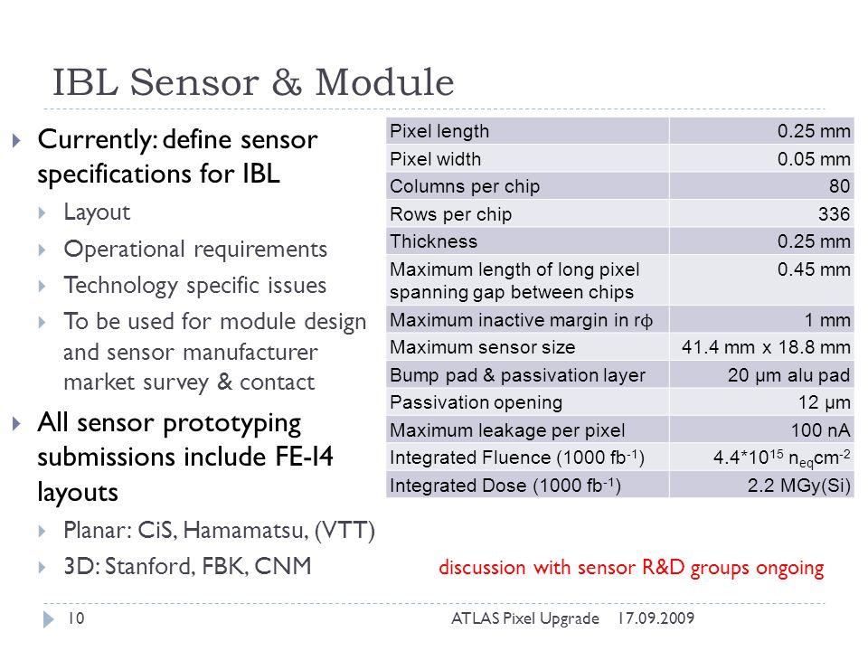 IBL Sensor & Module Currently: define sensor specifications for IBL