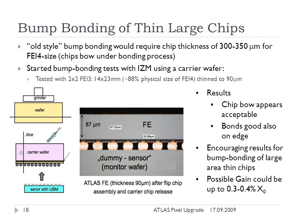 Bump Bonding of Thin Large Chips