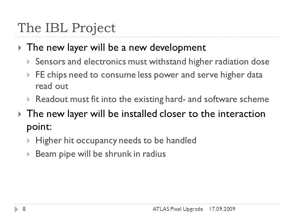 The IBL Project The new layer will be a new development