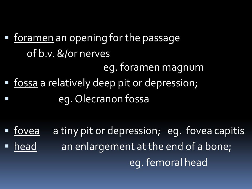 foramen an opening for the passage