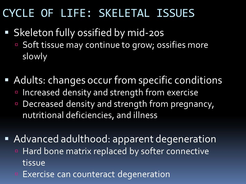 CYCLE OF LIFE: SKELETAL ISSUES