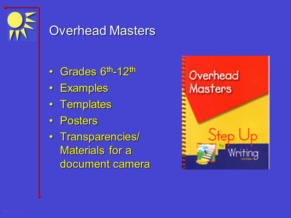 Overhead Masters Grades 6th-12th Examples Templates Posters