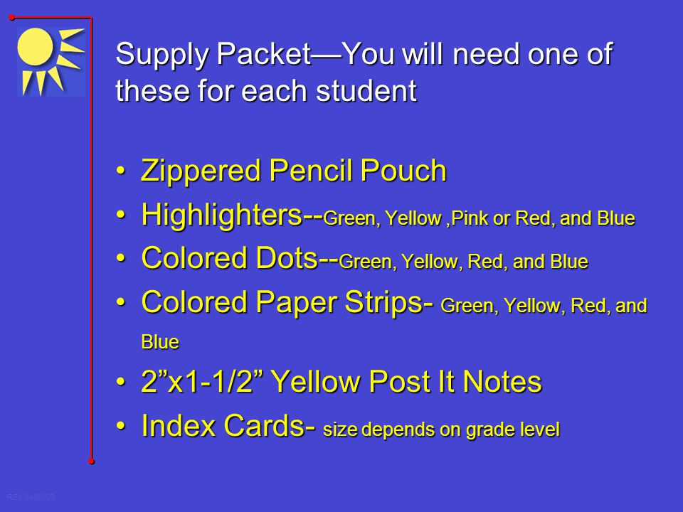 Supply Packet—You will need one of these for each student