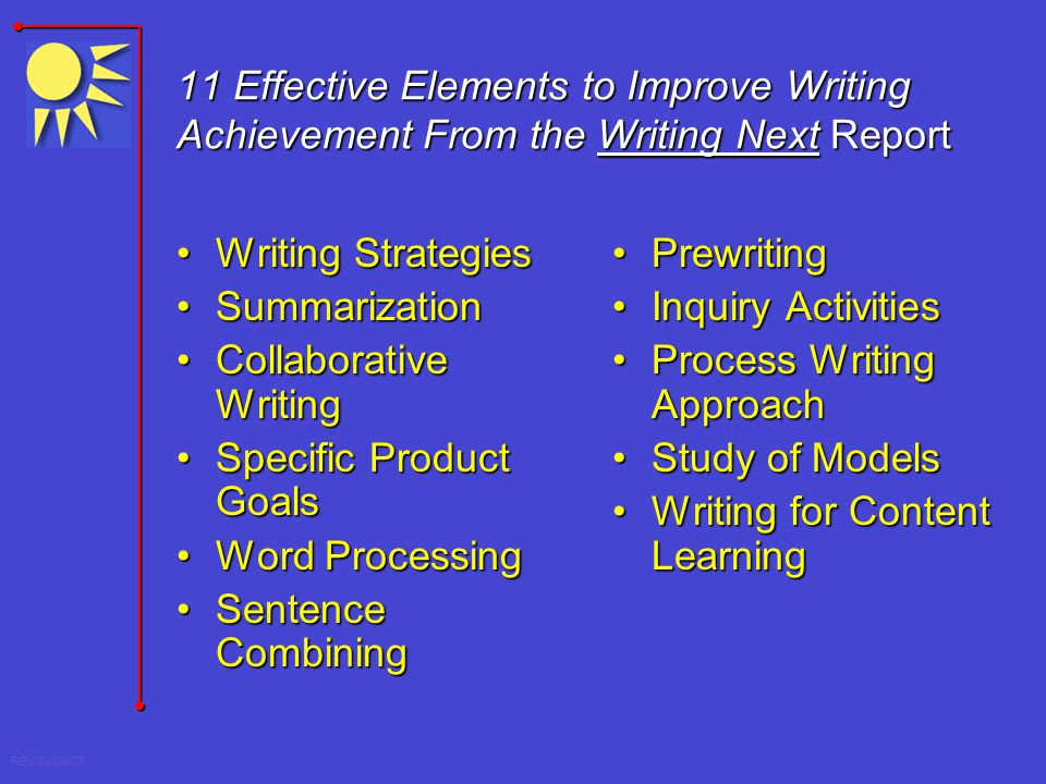 11 Effective Elements to Improve Writing Achievement From the Writing Next Report