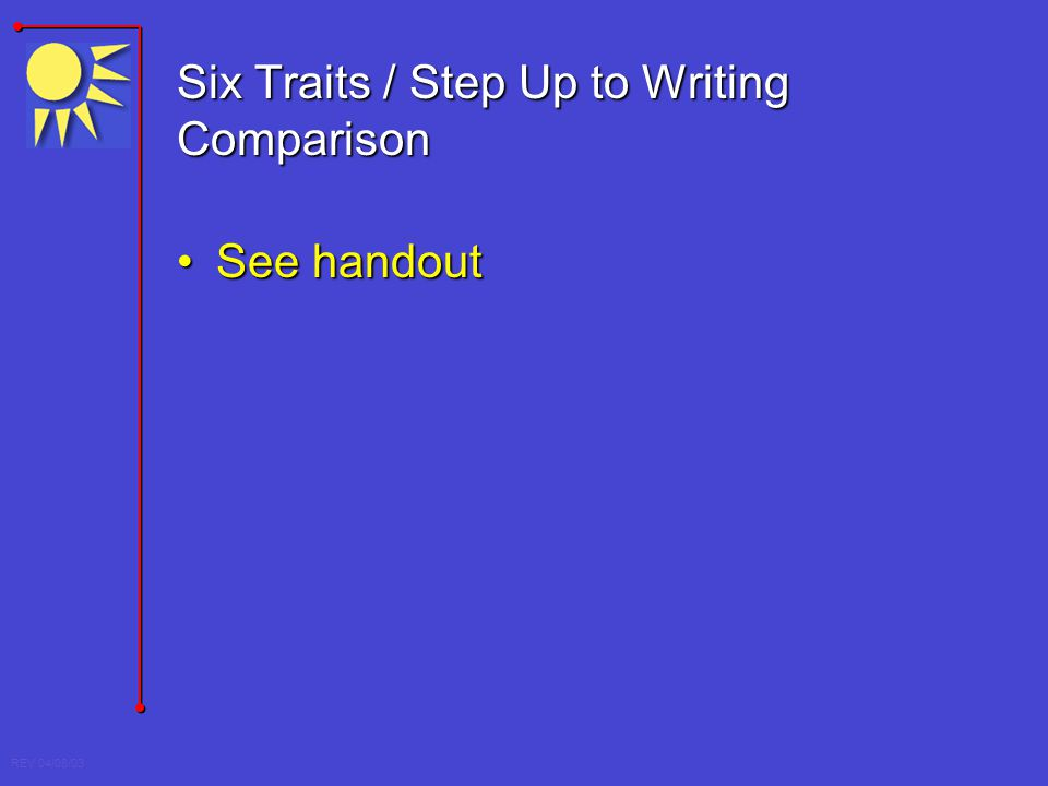 Six Traits / Step Up to Writing Comparison