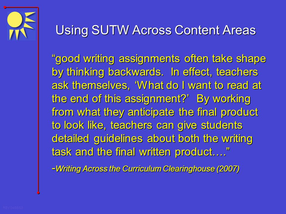 Using SUTW Across Content Areas