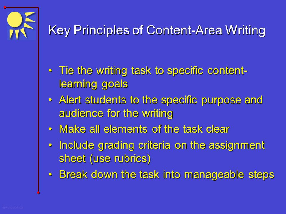 Key Principles of Content-Area Writing