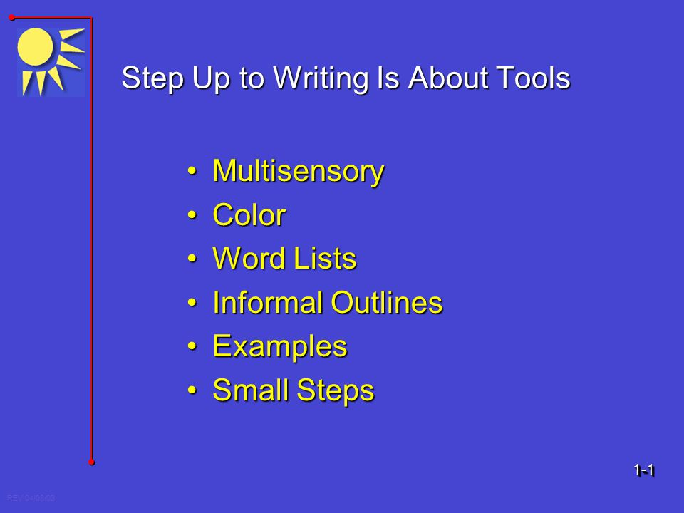 Step Up to Writing Is About Tools