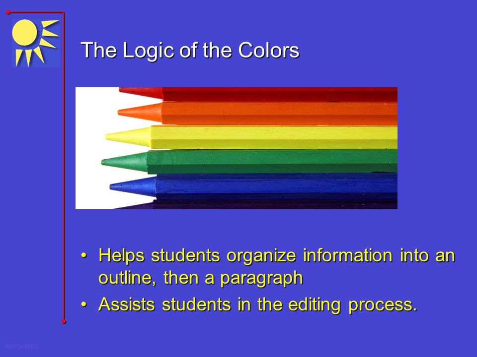 The Logic of the Colors Helps students organize information into an outline, then a paragraph.