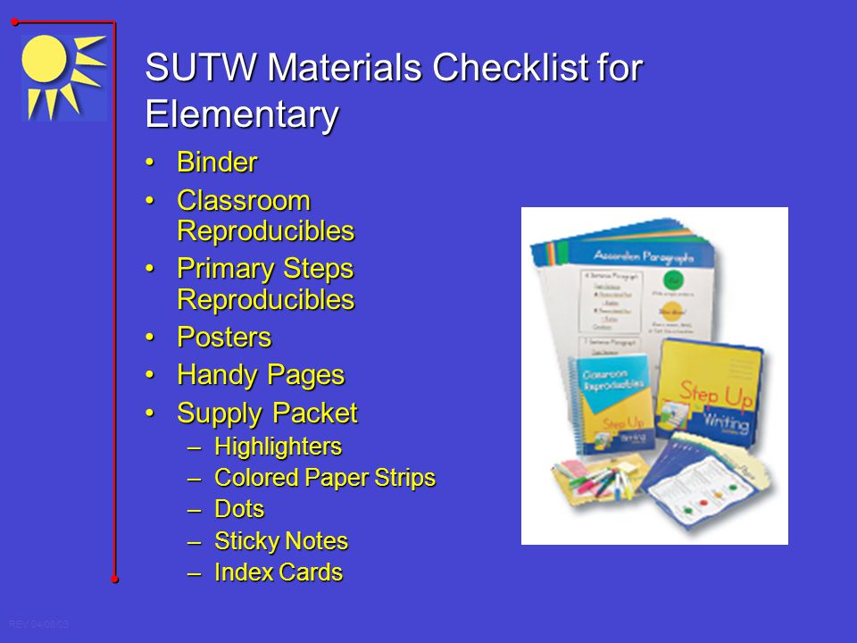SUTW Materials Checklist for Elementary