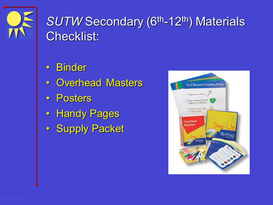 SUTW Secondary (6th-12th) Materials Checklist:
