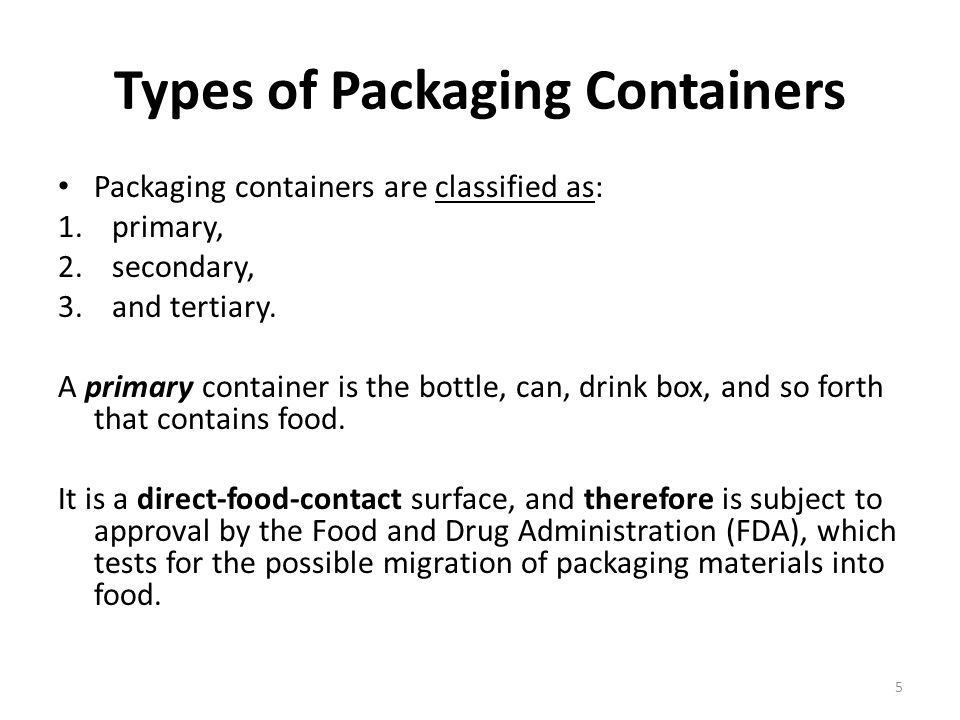 Types of Packaging Containers