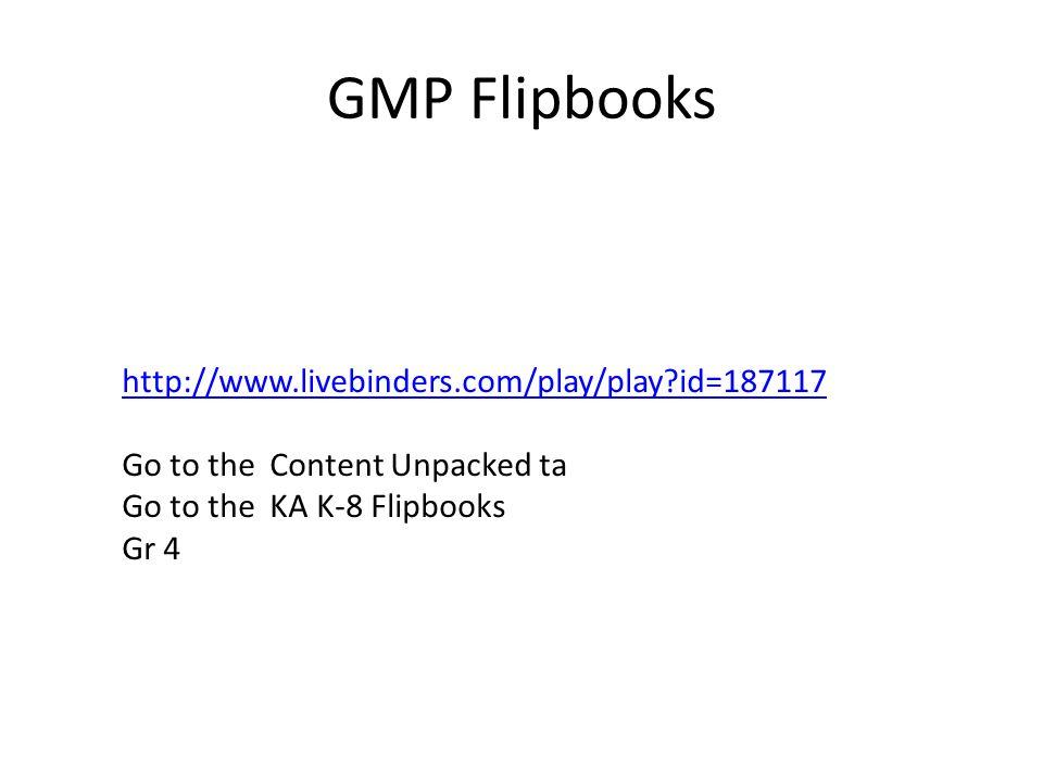 GMP Flipbooks http://www.livebinders.com/play/play id=187117