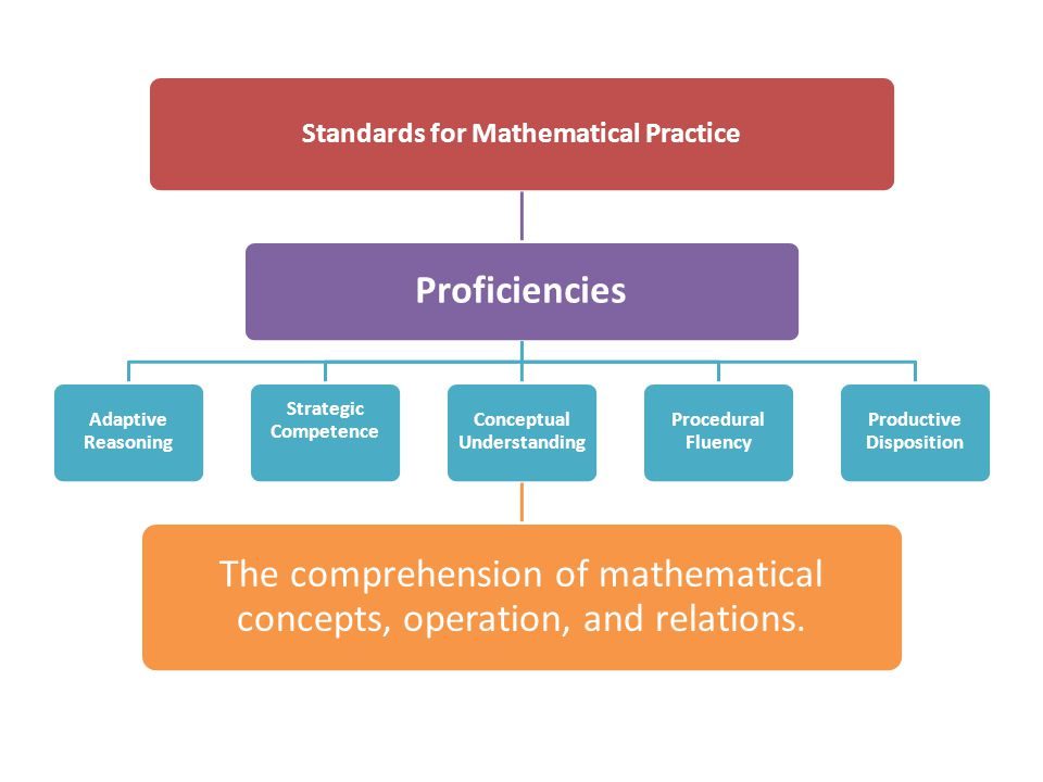 The comprehension of mathematical concepts, operation, and relations.