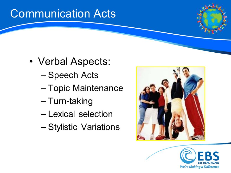 Communication Acts Verbal Aspects: Speech Acts Topic Maintenance