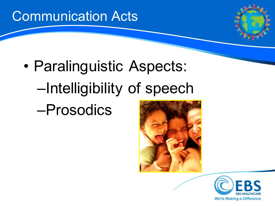 Paralinguistic Aspects: Intelligibility of speech Prosodics