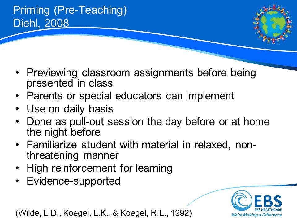 Priming (Pre-Teaching) Diehl, 2008