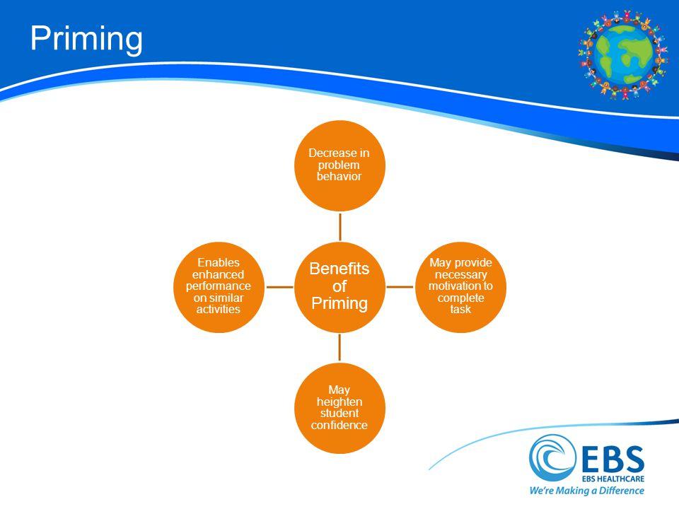 Priming 45 Benefits of Priming Decrease in problem behavior