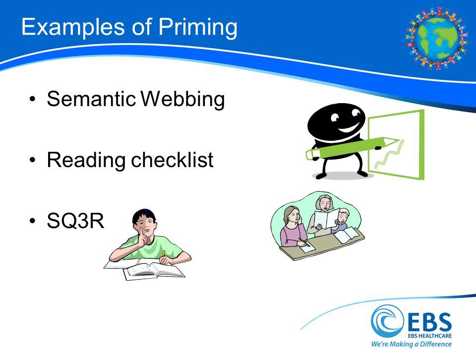 Examples of Priming Semantic Webbing Reading checklist SQ3R 47