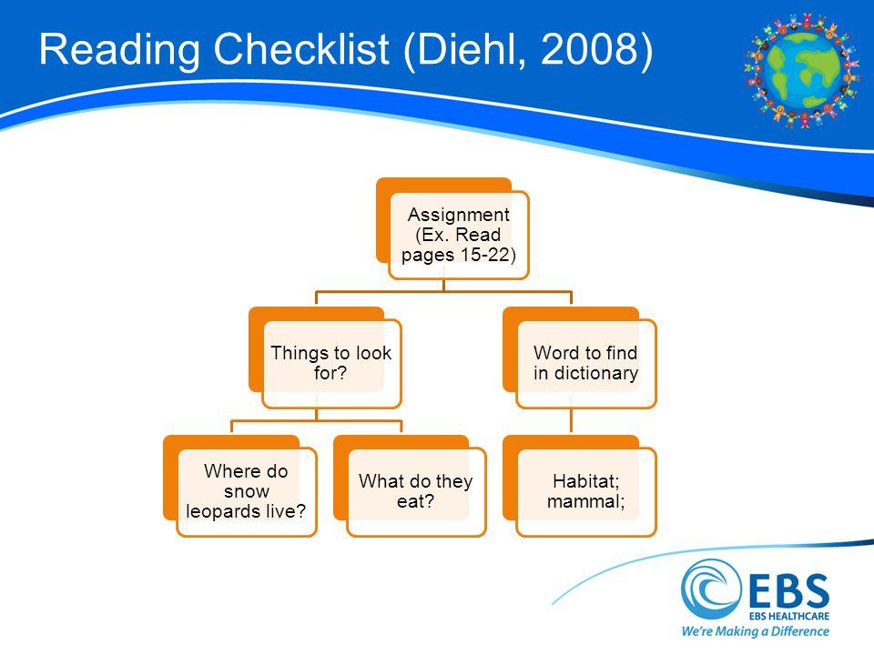 Reading Checklist (Diehl, 2008)