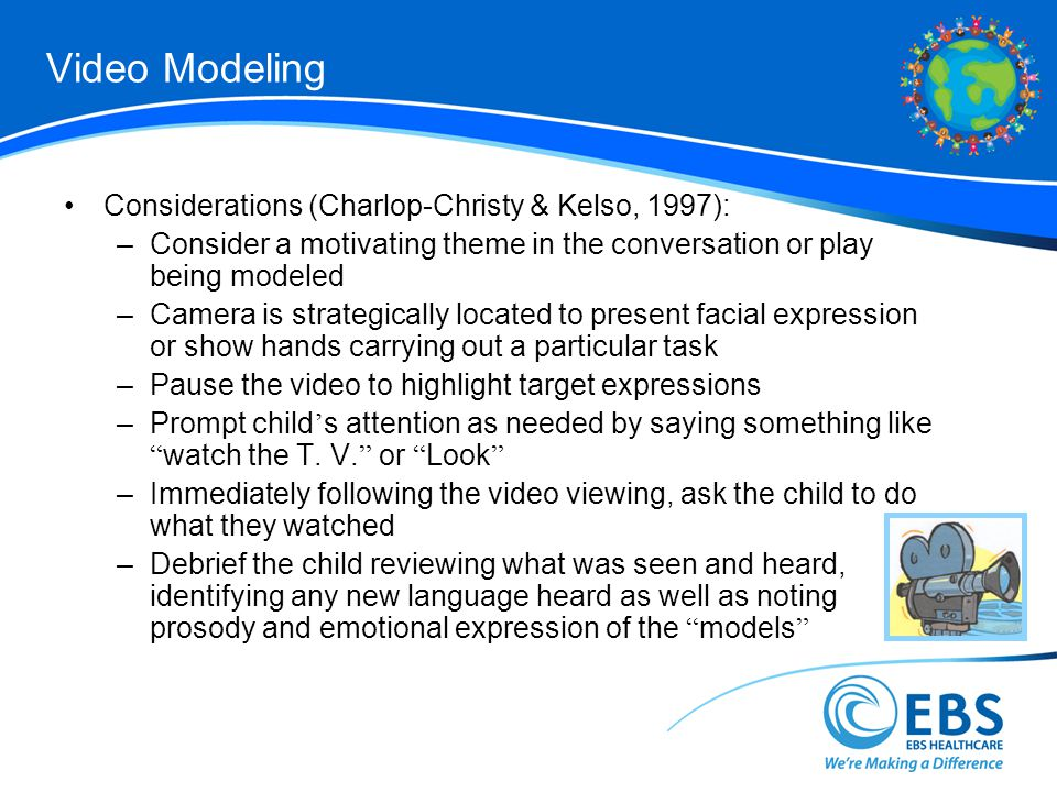 Video Modeling Considerations (Charlop-Christy & Kelso, 1997):