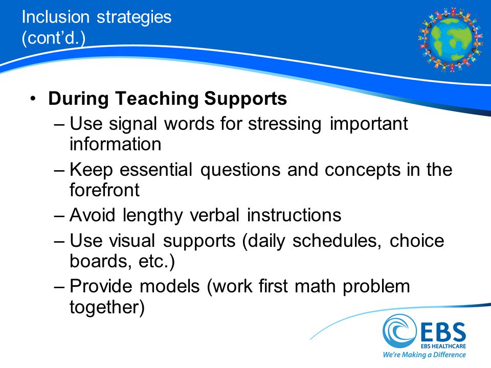 Inclusion strategies (cont'd.)