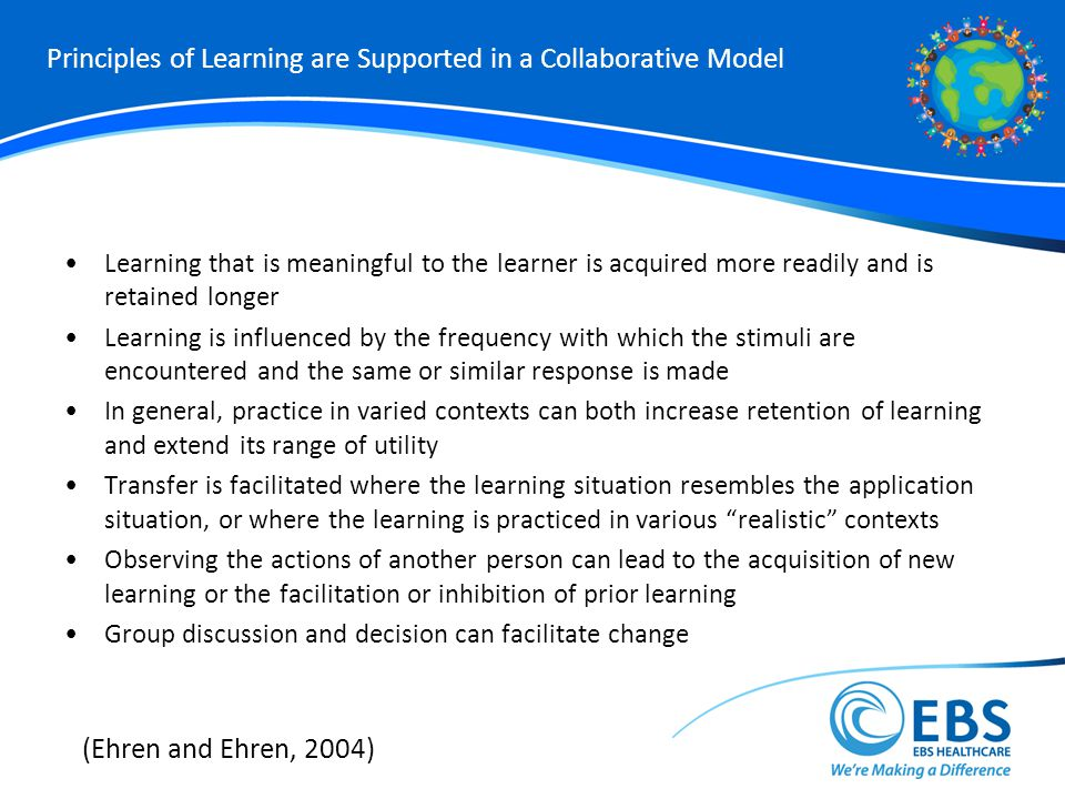 Principles of Learning are Supported in a Collaborative Model