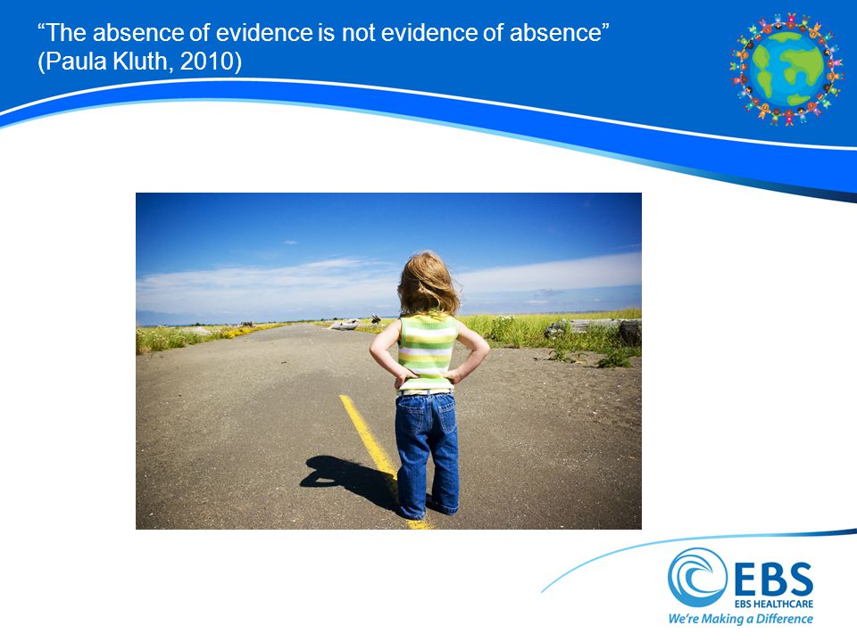The absence of evidence is not evidence of absence (Paula Kluth, 2010)