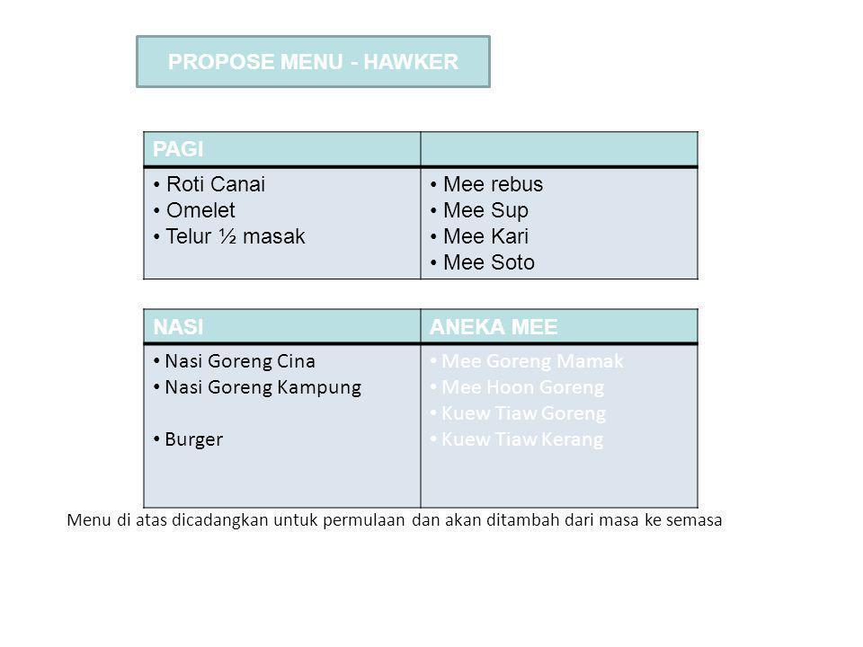 FLOWER CAFE PROPOSE MENU - HAWKER PAGI Roti Canai Omelet Telur ½ masak