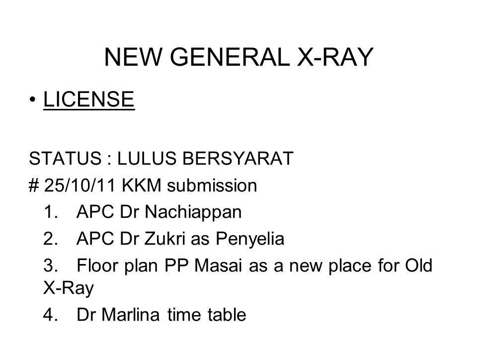 NEW GENERAL X-RAY LICENSE STATUS : LULUS BERSYARAT