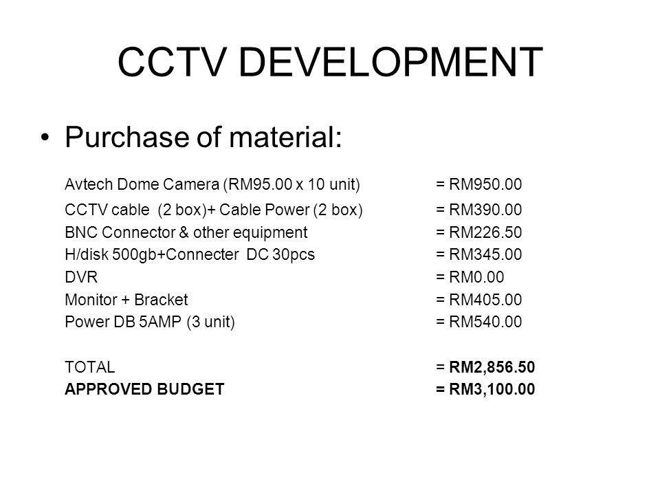 CCTV DEVELOPMENT Purchase of material: