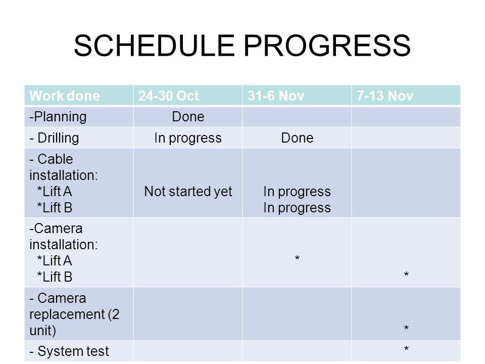 SCHEDULE PROGRESS Work done 24-30 Oct 31-6 Nov 7-13 Nov Planning Done