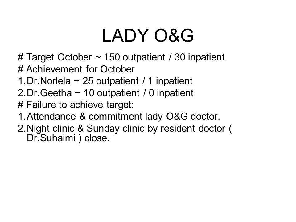 LADY O&G # Target October ~ 150 outpatient / 30 inpatient