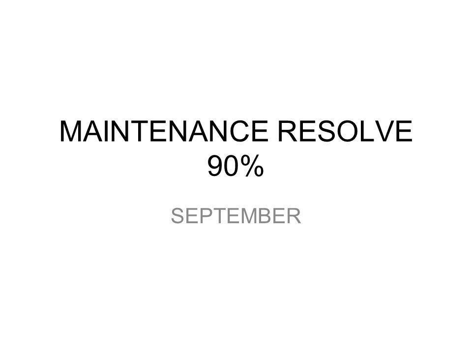 MAINTENANCE RESOLVE 90% SEPTEMBER