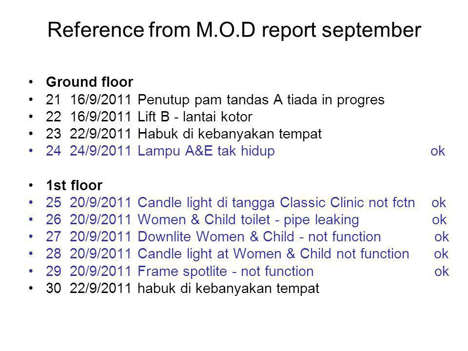 Reference from M.O.D report september