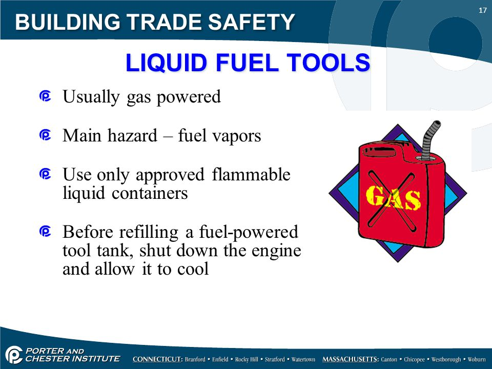 LIQUID FUEL TOOLS BUILDING TRADE SAFETY Usually gas powered