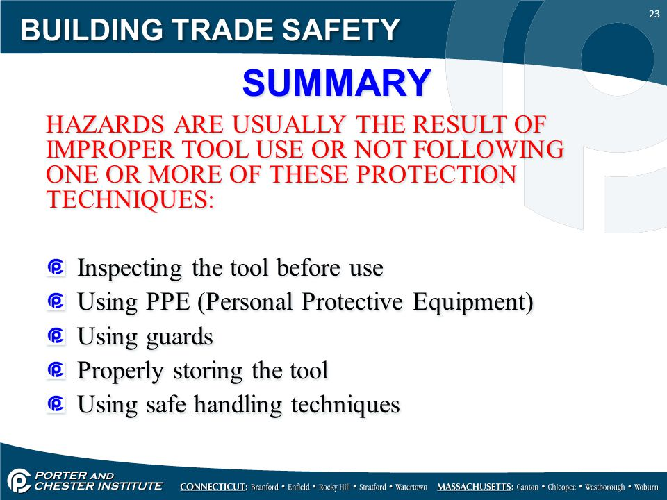 SUMMARY BUILDING TRADE SAFETY