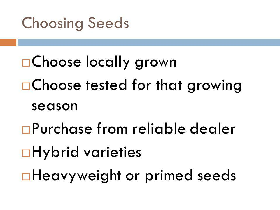 Choosing Seeds Choose locally grown. Choose tested for that growing season. Purchase from reliable dealer.