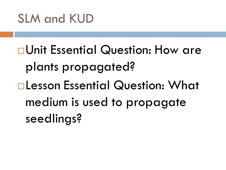 SLM and KUD Unit Essential Question: How are plants propagated.