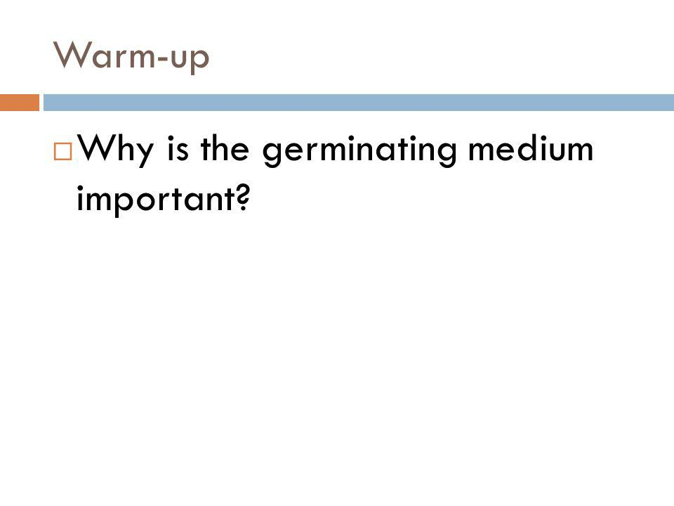 Warm-up Why is the germinating medium important