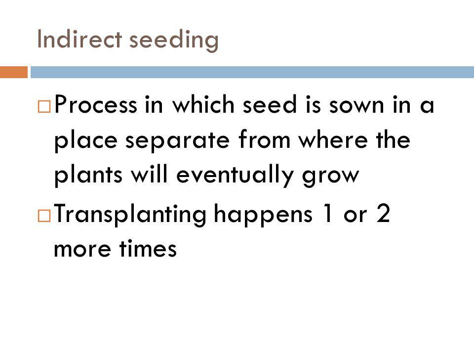Indirect seeding Process in which seed is sown in a place separate from where the plants will eventually grow.
